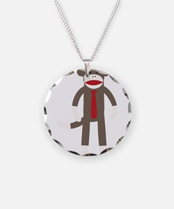 Red Tie Sock Monkey Necklace
