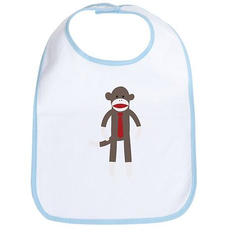 Red Tie Sock Monkey Bib