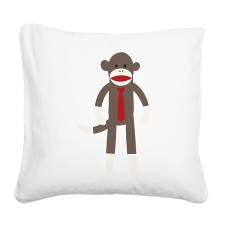 Red Tie Sock Monkey Square Canvas Pillow