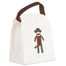 Red Tie Sock Monkey Canvas Lunch Bag
