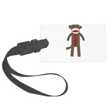 Red Tie Sock Monkey Luggage Tag