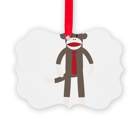 Red Tie Sock Monkey Picture Ornament