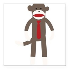 "Red Tie Sock Monkey Square Car Magnet 3"" x 3"""