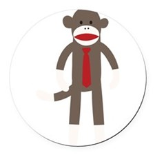 Red Tie Sock Monkey Round Car Magnet