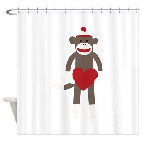 Valentine Monkey Shower Curtain