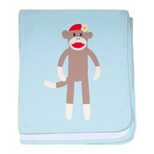 Flower Hat Sock Monkey baby blanket