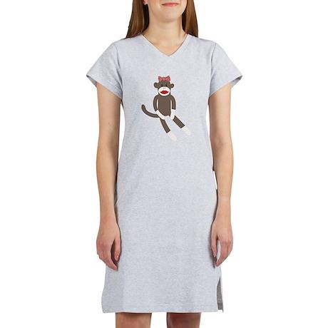 Polka Dot Sock Monkey Women's Nightshirt