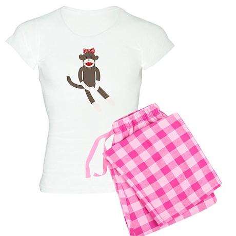 Polka Dot Sock Monkey Women's Light Pajamas