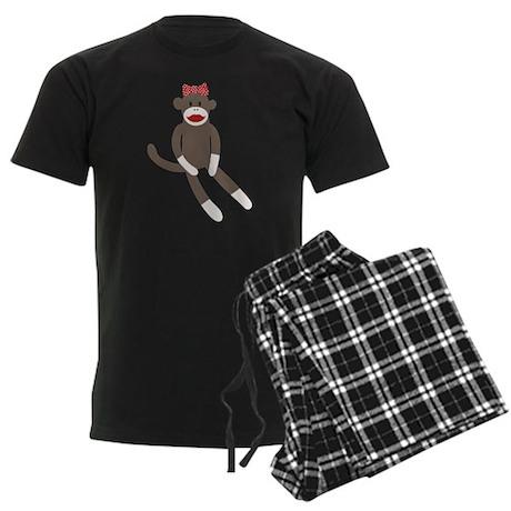 Polka Dot Sock Monkey Men's Dark Pajamas