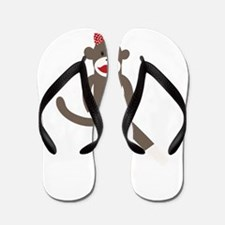 Polka Dot Sock Monkey Flip Flops