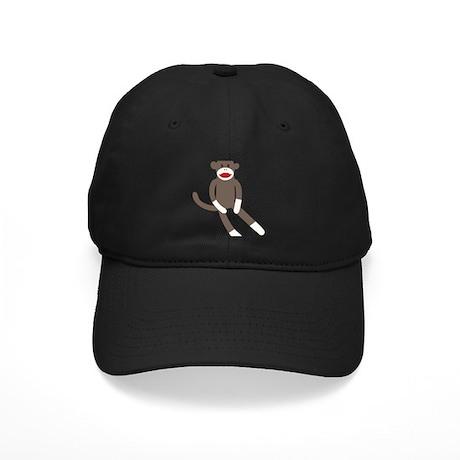 Polka Dot Sock Monkey Black Cap