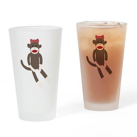 Polka Dot Sock Monkey Drinking Glass