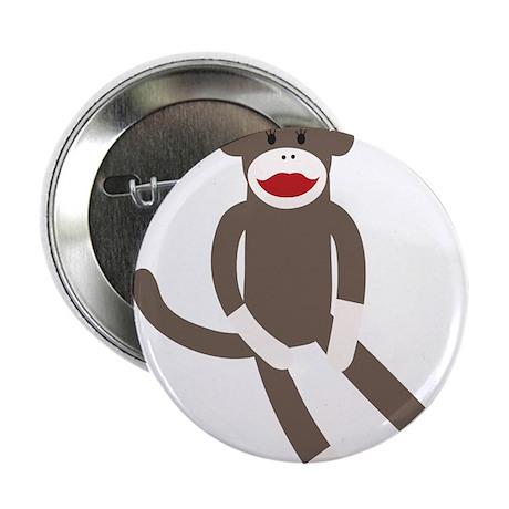 """Polka Dot Sock Monkey 2.25"""" Button"""