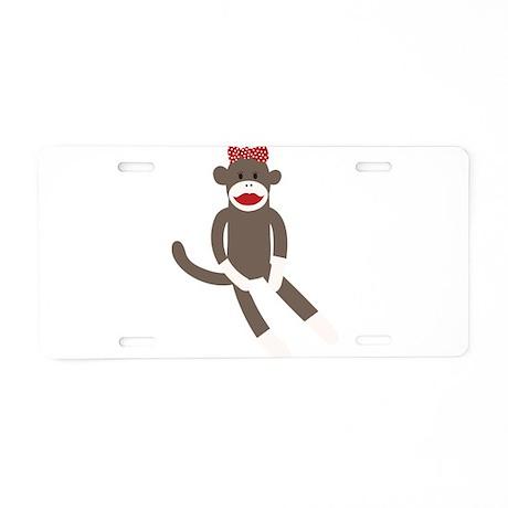 Polka Dot Sock Monkey Aluminum License Plate
