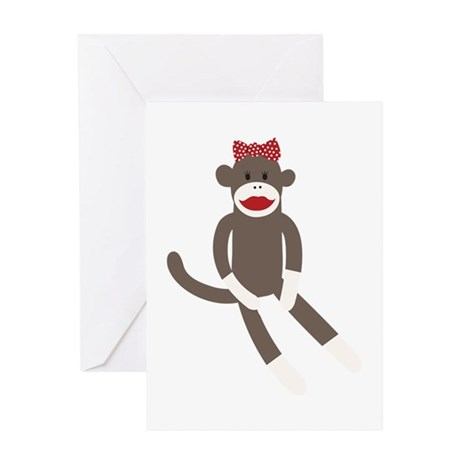Polka Dot Sock Monkey Greeting Card