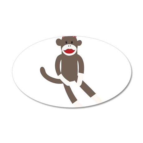Polka Dot Sock Monkey 20x12 Oval Wall Decal