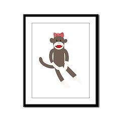 Polka Dot Sock Monkey Framed Panel Print