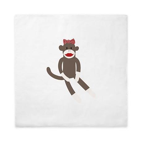Polka Dot Sock Monkey Queen Duvet