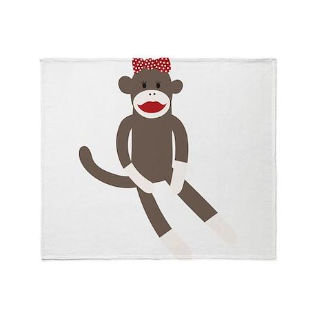 Polka Dot Sock Monkey Throw Blanket