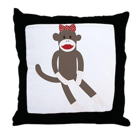 Polka Dot Sock Monkey Throw Pillow