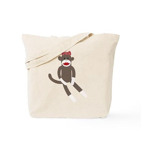 Polka Dot Sock Monkey Tote Bag