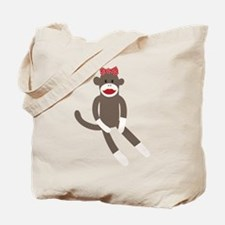 Polka Dot Sock Monkey Tote Bag