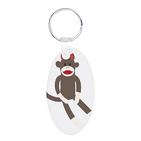 Polka Dot Sock Monkey Aluminum Oval Keychain