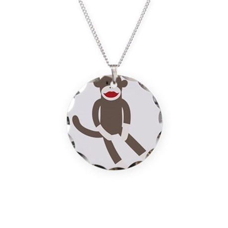 Polka Dot Sock Monkey Necklace Circle Charm