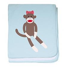 Polka Dot Sock Monkey baby blanket