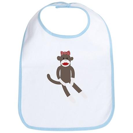 Polka Dot Sock Monkey Bib