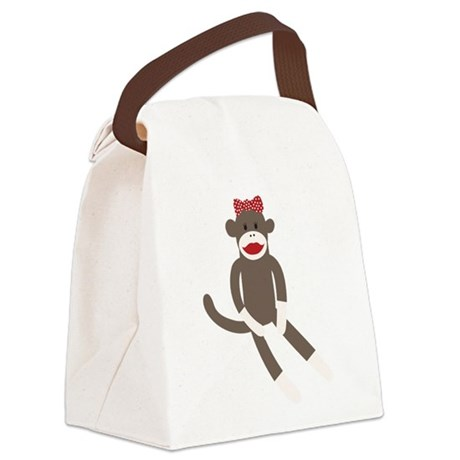 Polka Dot Sock Monkey Canvas Lunch Bag