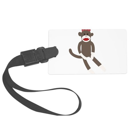Polka Dot Sock Monkey Large Luggage Tag