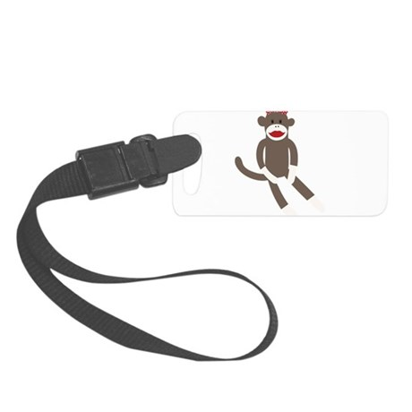 Polka Dot Sock Monkey Small Luggage Tag