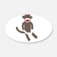 Polka Dot Sock Monkey Oval Car Magnet