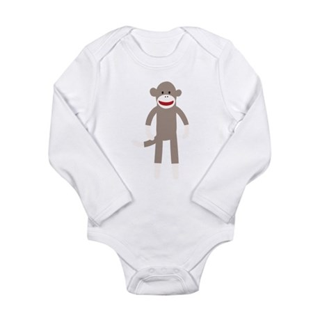 Happy Sock Monkey Long Sleeve Infant Bodysuit
