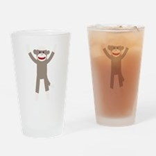 Excited Sock Monkey Drinking Glass