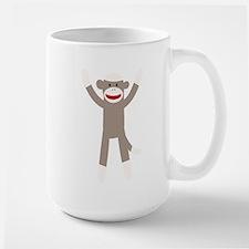 Excited Sock Monkey Ceramic Mugs