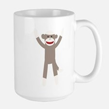 Excited Sock Monkey Large Mug