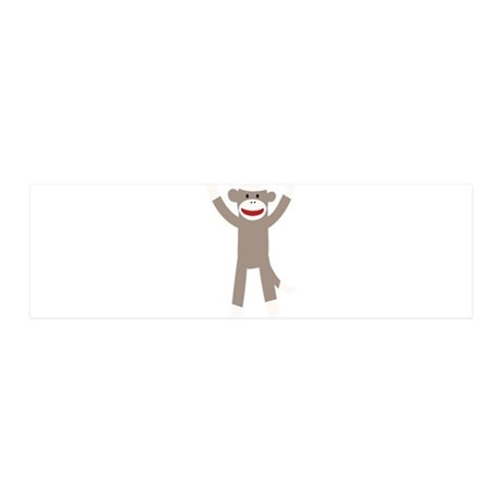 Excited Sock Monkey 36x11 Wall Decal
