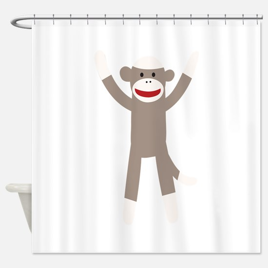 Excited Sock Monkey Shower Curtain