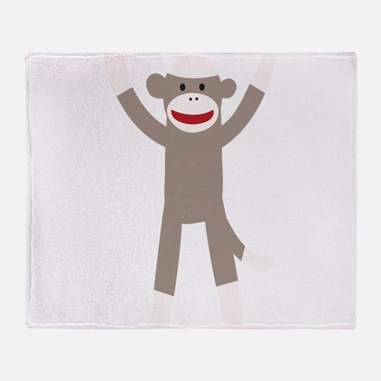 Excited Sock Monkey Throw Blanket