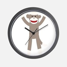 Excited Sock Monkey Wall Clock