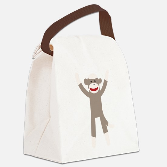Excited Sock Monkey Canvas Lunch Bag