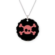 Pink Skull Button and More Necklace