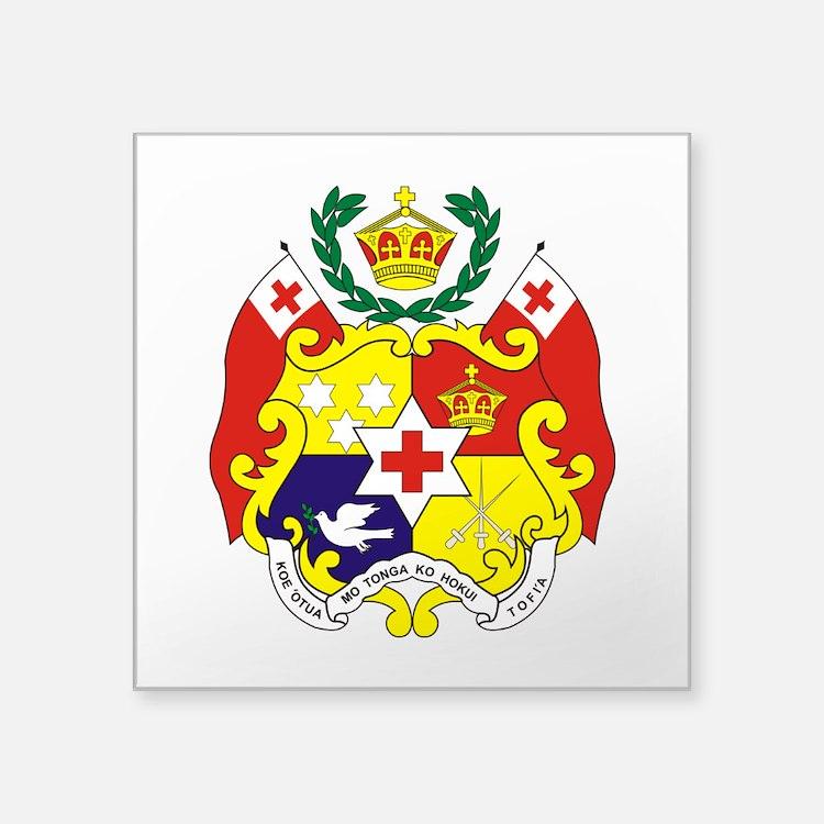 "Tonga COA.png Square Sticker 3"" x 3"""
