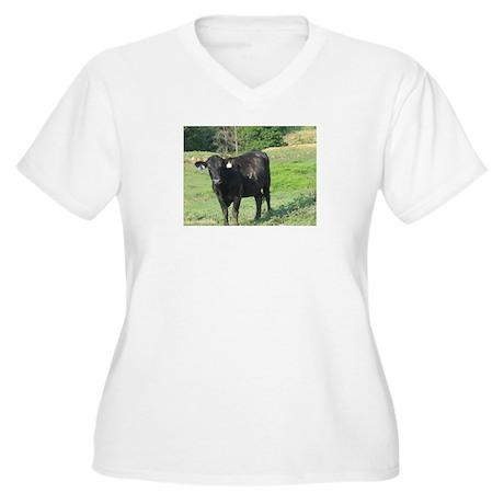Moo Women's Plus Size V-Neck T-Shirt