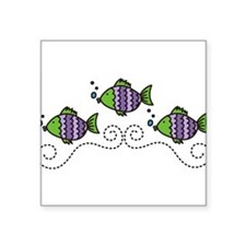 "Fish Square Sticker 3"" x 3"""