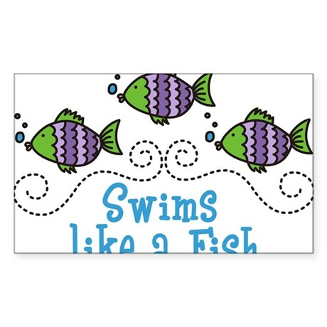 Swims Like A Fish Sticker (Rectangle)