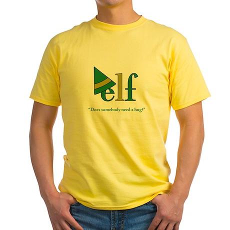 Elf Need a Hug (green) Yellow T-Shirt