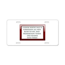 Forbidden Books Aluminum License Plate